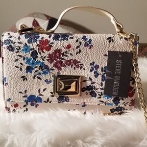 Steve Madden White Floral Buckle Lock Purse
